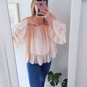 Pink chiffon blouse in size medium